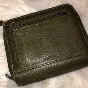 Olive Leather Bags - Olive Green Leather Zip Closure Wallet Good Cond